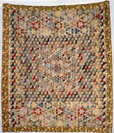Dove, Edith Elsie Parker - 1925 This interesting mosaic coverlet is made from printed and plain cottons and wools, in a mos. Old Quilts, Antique Quilts, Scrappy Quilts, Vintage Quilts, American Quilt, Sampler Quilts, Hexagon Quilt, Traditional Quilts, English Paper Piecing