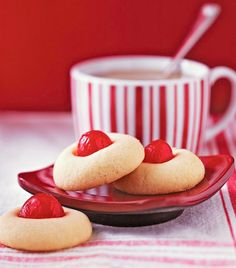 A festive red maraschino cherry tops each cookie in this recipe, contributed by one of our Midwest Living® editors. Christmas Cookie Exchange, Christmas Sweets, Country Christmas, Christmas Candy, Christmas Christmas, Cherry Cookies, Sugar Cookies, Cream Cookies, Almond Cookies