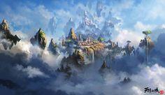 The city of the sky , Liang xing on ArtStation at https://www.artstation.com/artwork/wXbg