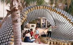 Recycled cans made into a shelter