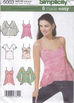 New Sewing Pattern for Women's 6 Easy Fancy Plain Camisole Tops  Simplicity Pattern 5003 Miss Size 14/20 14 16 18 20 Plus Size FF UNCUT 2004 by LanetzLiving on Etsy Plus Size Sewing Patterns, Vogue Sewing Patterns, Simplicity Sewing Patterns, Caftan Dress, Star Patterns, Maternity Tops, Hot Pants, Size 14, Camisole Top