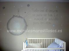 Mural de EL PRINCIPITO en tonos suaves.  Se pintan por toda España.  www.muralesmaravillosos.es