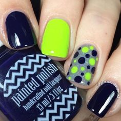Trendy Nail Art, Cute Nail Art, Cute Nails, Neon Nails, Shellac Nails, Acrylic Nails, Nail Nail, Football Nails, Seahawks Nails