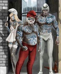 #smurf #badass #tattoo #fantasy #piercing #gang WWW.BODYCANDY.COM
