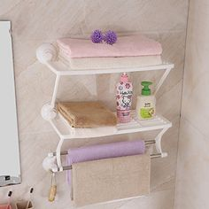 Strong Suction Cup Toilet Rack Two Towel Rack Bathroom Shelves
