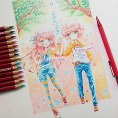 """""""Pencil cretacolor and Faber castell"""" Este es uno de los dibujos que más me gustan, los OC son Aiyu y Hiro y  pertenecen a @miyamelon ella hace cosas hermosas *w*  Ya cabros, como ya mencioné, esta pintado con faber y cretacolor, y está delineado con.... Un portaminas cafe, creanme que me estoy rompiendo la cabeza pa' que entiendan con que lápiz delineé el dibujo X'D no es tinta, es un lápiz de color café, que lamentablemente ya no tengo ;3;) es ese lápiz rojo de la derecha. (Con """"ya no…"""