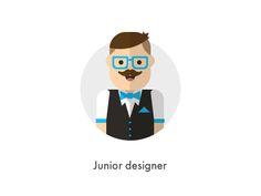 How should they look like: Junior Designer designed by kipyatok. Web Ui Design, Graphic Design Layouts, Flat Design, Layout Design, Icon Design, People Illustration, Character Illustration, Graphic Design Illustration, Illustration Styles