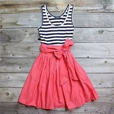 I love navy and white stripes with a bright colored skirt