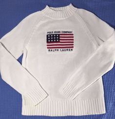 Vintage Ralph Lauren Polo Jeans Co USA Flag 100% Cotton Sweater Pullover White #PoloRalphLauren #Sweater
