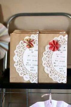 Homemade gift bags, favors love the little pinwheel detail