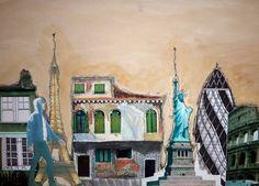 GCSE Art final piece by pupil from Orleans Park School. Title: Essence of the City Cityscape Drawing, A Level Art, Gcse Art, Built Environment, Urban Landscape, Photomontage, Book Art, Sketchbooks, Illustration