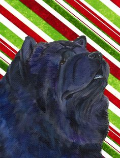 Chow Chow Candy Cane Holiday Christmas Flag Canvas House Size