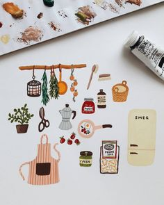 Probably I drew it because I want to eat penne with pesto tonight 😅😅 What's your dinner menu tonight? Art And Illustration, Food Illustrations, Korean Illustration, Guache, Jolie Photo, Painting & Drawing, Gouache Painting, Love Art, Art Inspo