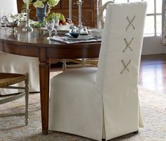 Dress Up Your Dining Chairs: Corseted Slipcovers - Driven by Decor
