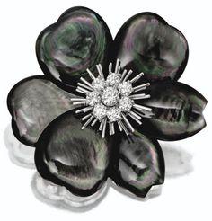 """Abalone pearl and diamond """"Rose de Noel"""" brooch by Van Cleef & Arpels, Paris."""