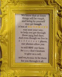 """Box of Sunshine"" personal poem created."