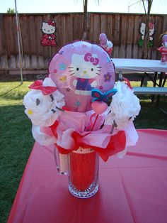 Hello Kitty Party Center Piece. I etched a hello kitty picture onto the glass mug.  The mug I bought from the dollar store. Balloon I got for .50 each from Partycity, I made the hello kitty flowers the way I made the pompoms. It looked like carnation flowers.