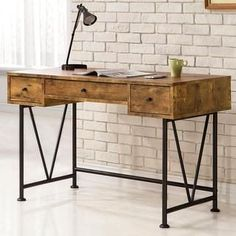Mid Century Industrial Design Home Office Computer/ Writing Desk with Drawers - 19741220 - Overstock - Great Deals on Desks - Mobile