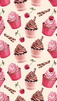 32 Ideas Cupcakes Wallpaper Backgrounds Iphone For 2019 Cupcakes Wallpaper, Food Wallpaper, Wallpaper Backgrounds, Iphone Backgrounds, Trendy Wallpaper, Iphone 7 Wallpapers, Cute Wallpapers, Vintage Sweets, Cherry Cupcakes