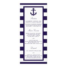 The nautical anchor navy stripe wedding collection is perfect for any couple planning a romantic marriage by the sea. <br> <br> These menus can be personalized for your special occasion and would make the perfect menu template for any wedding, bridal shower, engagement party, birthday party and much, much more.