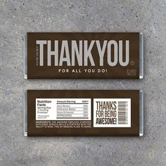 Employee Appreciation Gift! Printable candy bar wrappers for employee appreciation day or just to say THANKS any time of the year! Instant download by Studio 120 Underground, $5. #employee #employeeappreciation