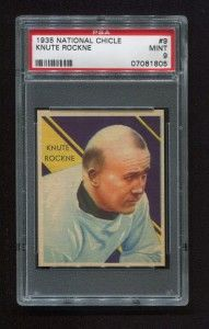 PSA 9 Knute Rockne National Chicle card up for sale.  Story has info.