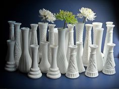 Vintage Milk Glass Vases Vase Collection A Set of 24 Cottage Beach Shabby Chic Wedding by shop1848, via Flickr