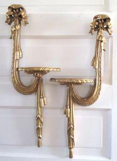 Vintage Durwood Wall Sconce set boho home decor gold shelf display – Late Boomer Vintage -- #mcmhome #vintagedecor #vintagehome #Durwood #vintagecanada #wallsconce
