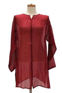 Eileen Fisher Sheer Cranberry Summer Tunic Blouse  Size M