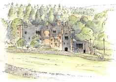 The ruin Barden Tower a medieval hunting lodge up the River Wharfe from Bolton Abbey ~ sketch ~ John Edwards Watercolor Painting Techniques, Pen And Watercolor, Watercolor Paintings, Watercolours, Drawing Sketches, Drawings, Drawing Board, Bolton Abbey, Art Tutor