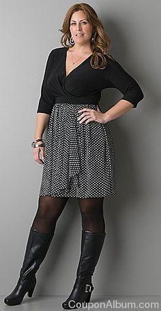 3/4 sleeve polka dot skirt dress
