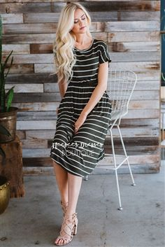 Olive White Stripes Pocket Modest Dress Bridesmaids Dress, Church Dresses, dresses for church, modest bridesmaids dresses, trendy modest dresses, modest womens clothing, affordable boutique dresses, cute modest dresses, mikarose, best modest boutique