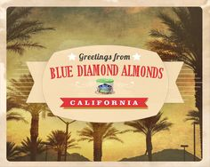 Greetings from California, the home of Blue Diamond Almonds! Enter our #sweepstakes on Pinterest for a chance to win $500.