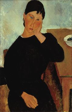Elvira Resting at a Table - Amedeo Modigliani