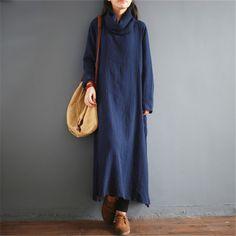 Johnature Women Maxi Dress Sweet Long Sleeve Turtleneck Cotton Linen