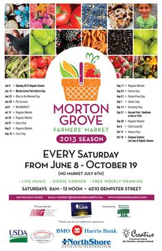 Morton Grove, IL Shop for Father's Day, graduation presents, and your weekly groceries!  Enjoy hot prepared foods, fresh produce and plants, hand-crafted items, fresh baked goods, and much more.     The Morto… Click flyer for more >> Marketing Colors, Morton Grove, Senior Day, Graduation Presents, Grove Park, Local Events, Community Events, Farm Gardens, Flyers