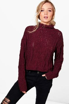 boohoo Hannah Cable Knit Funnel Neck Jumper Winter Outfits 2017 203ea78b0