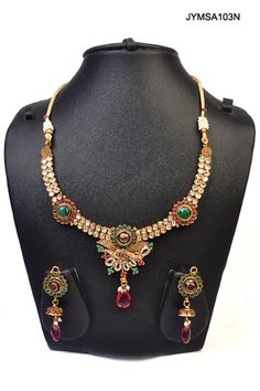 $42 Polki Style Necklace Set from cbazaar