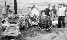 James Dean car crash. Someone has circled the one person on the ground in the photo, indicating that he thinks this is Dean.