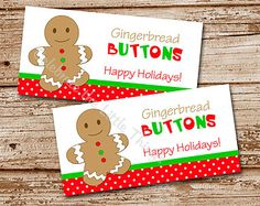 PRINTABLE   Christmas Treat Bag Topper   Gingerbread Man   Gingerbread Buttons   Happy Holidays   Favor Tags (Instant Download)