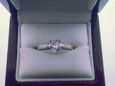 heart shaped 14K engagement ring Heart Shaped Engagement Rings, 1 Carat, Girls Best Friend, Heart Shapes, Heart Ring, Sapphire, Wedding Inspiration, Diamonds, Jewelry