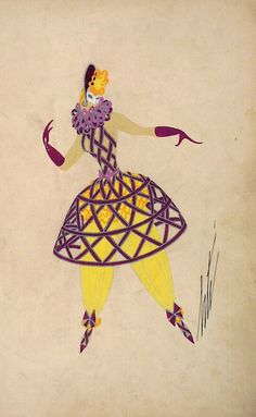 Erté, Costume Sketch, Colombine, 1937.
