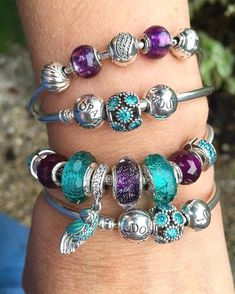 Can't stop looking at my favourite purples and teals!  #pandorabracelets…  #PandoraJewelry