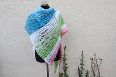 Dreieckstücher - Tuch rot weiß grün türkis gestrickt Schal Lace  - ein Designerstück von trixies-zauberhafte-Welten bei DaWanda