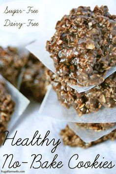 heart healthy desserts These healthy no-bake cookies are to die for! You'll never miss all the sugar you normally find in no-bakes! These healthy cookies are easy to make, and co Sugar Free Desserts, Sugar Free Recipes, Gluten Free Desserts, Dessert Recipes, No Sugar Snacks, Mango Desserts, No Bake Snacks, Light Desserts, Drink Recipes