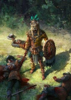 Aztec jaguar warrior by Qiang Zhou Fantasy Warrior, Fantasy Art, Character Inspiration, Character Art, Aztecas Art, Aztec Culture, Art Tribal, Inka, Age Of Empires