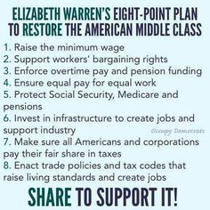 Thank you Elizabeth Warren and we support you in your efforts to Restore The Middle Class! We Are The World, In This World, Mantra, Political Views, Liberal Views, Political Issues, Thats The Way, Social Issues, Social Justice