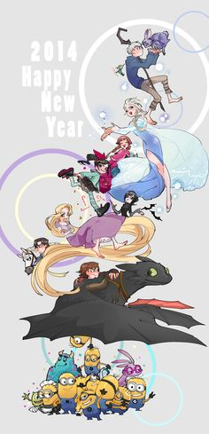 Rise of the Guardians, Disney's Frozen, Wreck-It Ralph, Hotel Transylvania, Disney's Tangled, How to Train Your Dragon, Despicable Me, and Monsters University / 「Happy New Year」/「KIU|」のイラスト [pixiv]