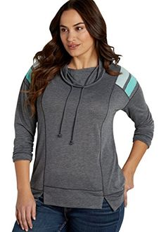 fe9832e7899 Maurices Women s Plus Size Pullover Sweatshirt With Cowl Neck And Striped  Shoulders 0 Gray Combo at Amazon Women s Clothing store