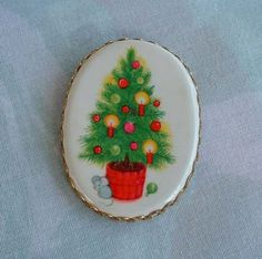 Vintage Christmas Tree Brooch Pin Painted Transferware Ornaments Holiday Jewelry